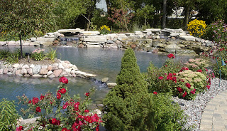 Water features offer space for hardy perennials.