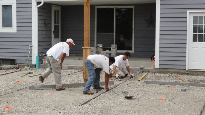 Integrity Landscape Team Removes Old Patio & Rework Base