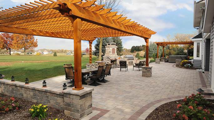Completed Brick Patio Remodel in Franklin, WI by Integrity Landscape