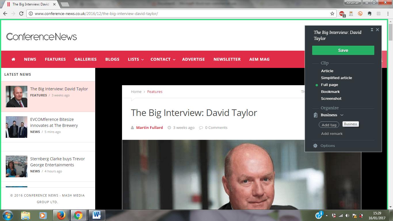 Evernote web clipper screencap
