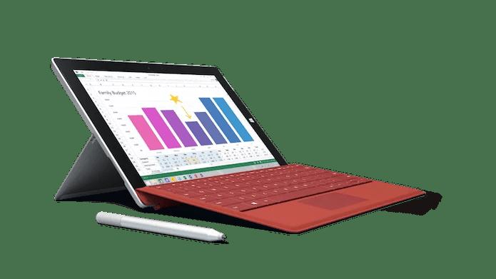 Surface 3 com a capa, caneta e a dock