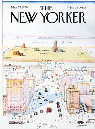 Saul Steinberg's March 29, 1976 »View of the World from Ninth Avenue« cover of The New Yorker    © The Saul Steinberg Foundation