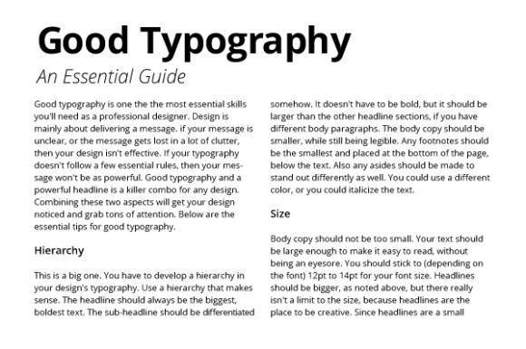 Good typography hierarchy headlines subheads
