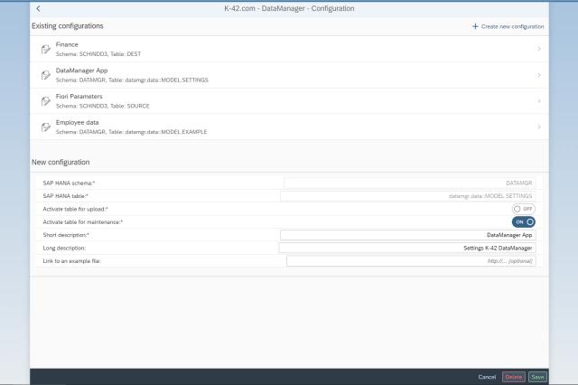 Anlage eines neuen Uploads und einer Tabellenpflege durch den Administrator im Customizing der App