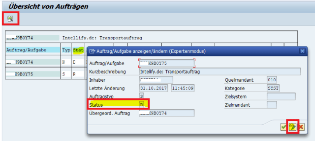 SAP Transportauftrag Freigabestatus: SAP Program RDDIT076 Change Transport Status