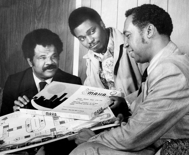 Creators Charles I. Bryant left, Rudy Smith and Robert Samuels Discover Omaha Game, designed by three Omahans THE WORLD-HERALD Photo taken May 4, ran May 7, 1978