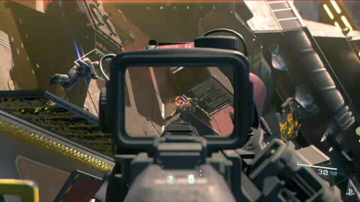 A view through a gun scope pointed at a combatant floating in space.