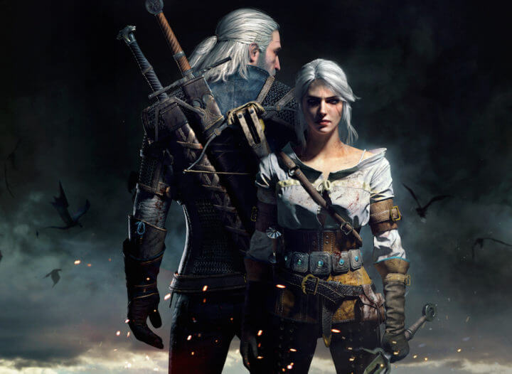 A picture of Geralt, a tall man with white hair and two swords on his back, and Ciri, a woman shorter than he, also with white hair. Geralt's back is to the viewer, while Ciri faces the viewer.