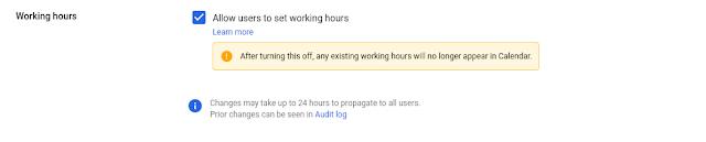 configuración de administrador para controlar Horario laboral