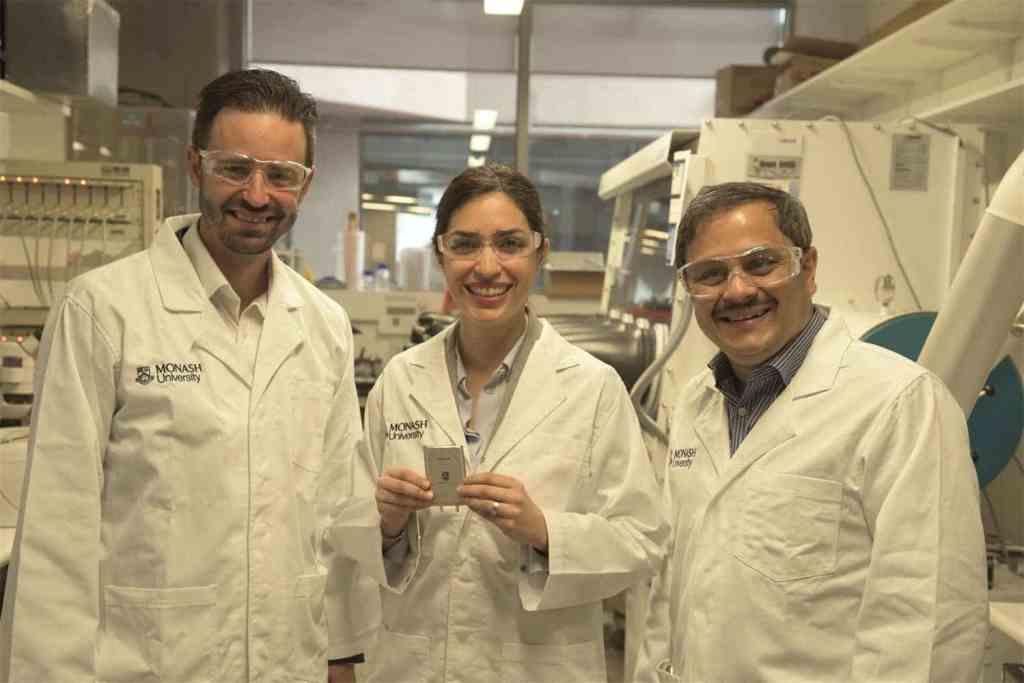 Associate Professor Matthew Hill, Dr Mahdokht Shaibani and Professor Mainak Majumder with the lithium-sulfur battery design.