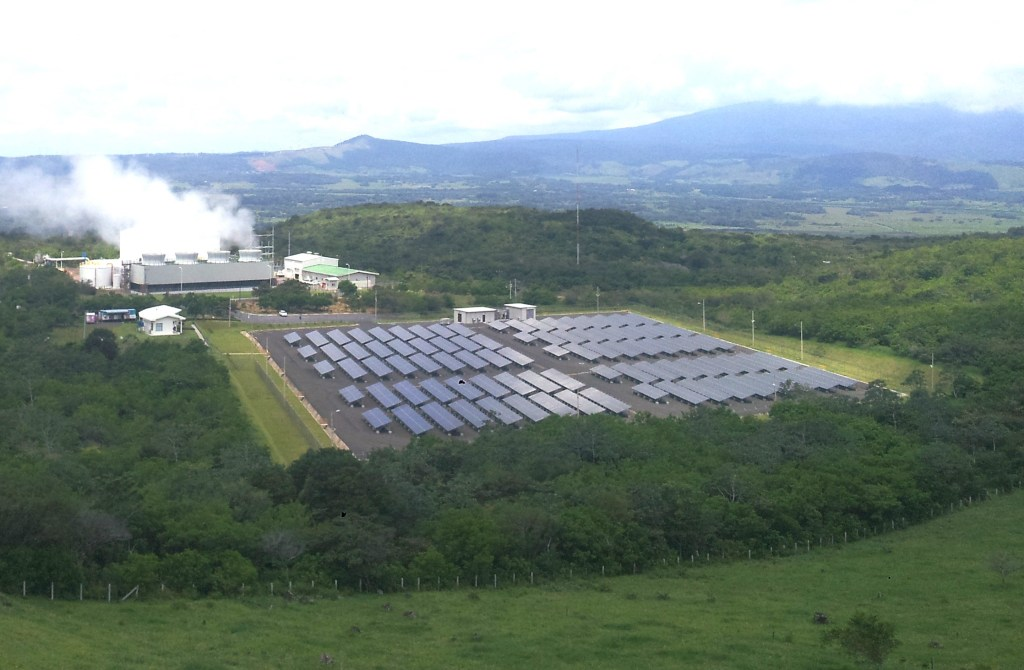 Miravalles geothermal plant and solar plant