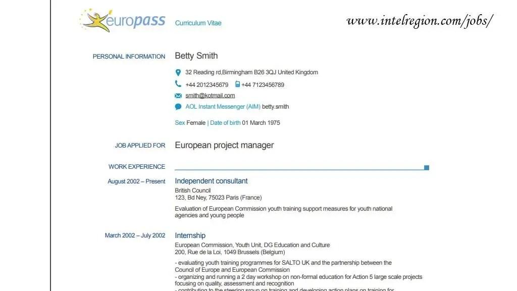 How to compose an Europass CV