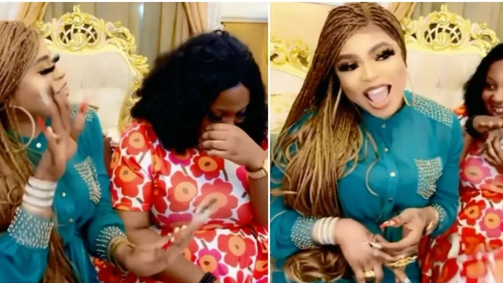 Bobrisky finally gives money to fan who was allegedly beaten up for tattooing his face on her back (video)