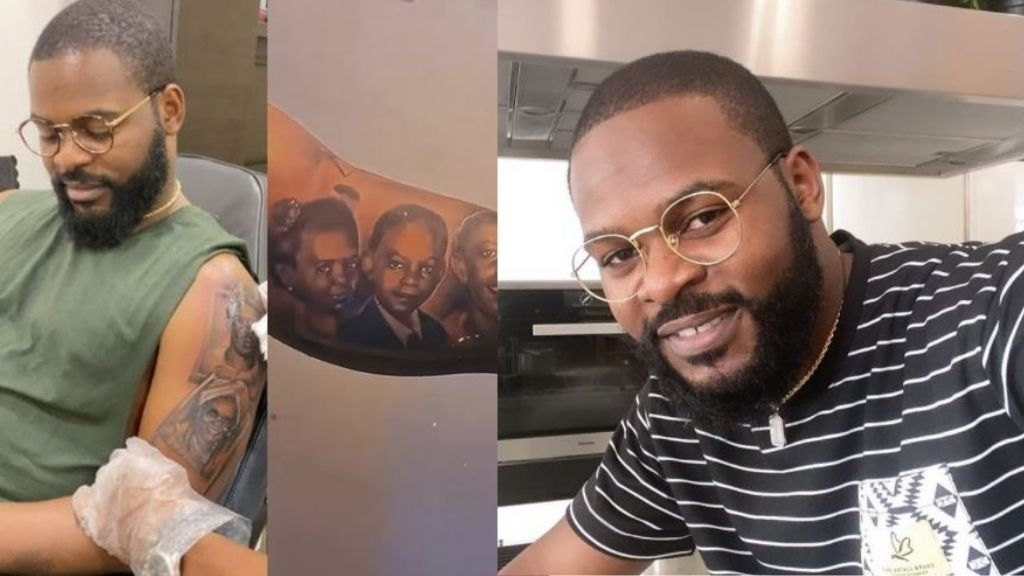 Singer, Falz gets tattoos of his entire family on his arm (Video)