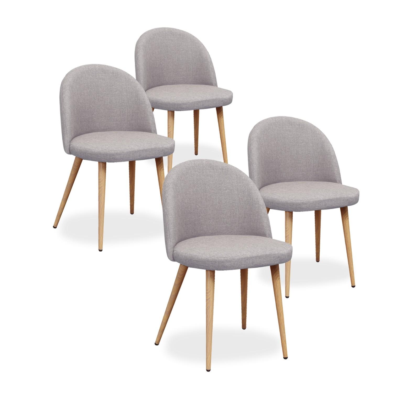 lot de 4 chaises scandinaves cecilia tissu gris
