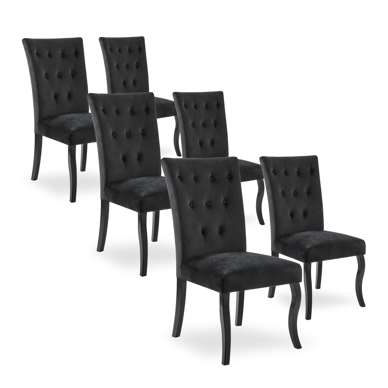 lot de 6 chaises capitonnees chaza velours noir