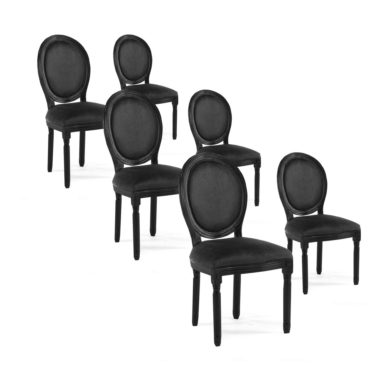 lot de 6 chaises medaillon louis xvi velours noir