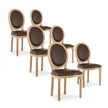 lot de chaises simili marron design pas