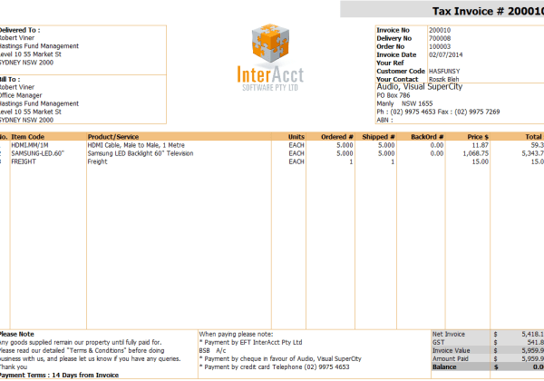 Debtors – Tax Invoice