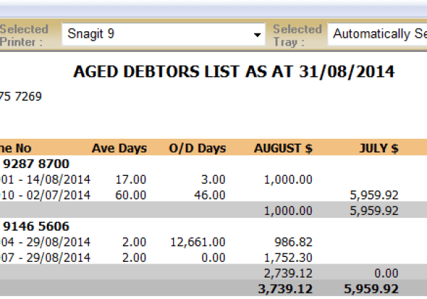 Debtors – Detailed Aged Debtors List