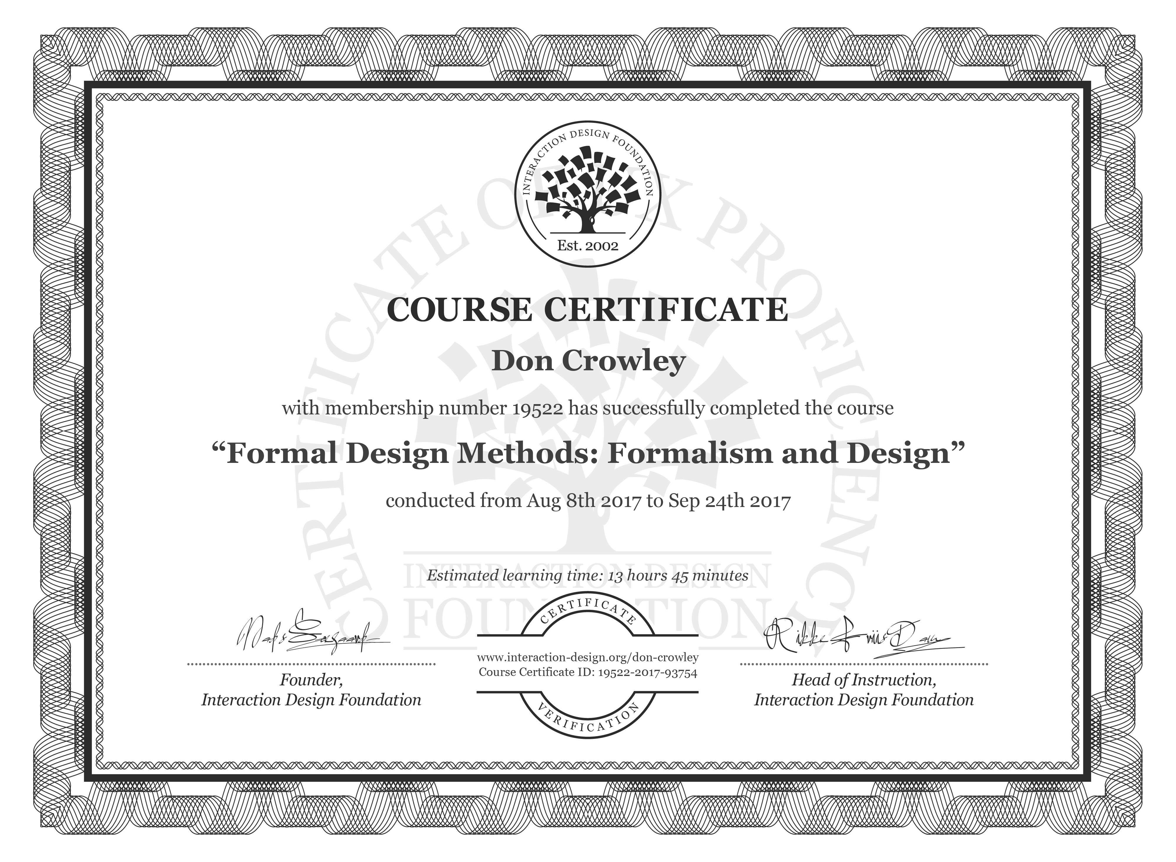 Don Crowley Course Certificate Formal Design Methods