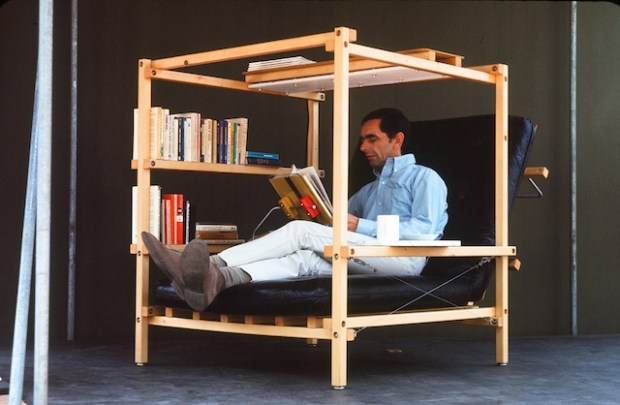 Fig 2: Isaacs sitting in his 'Superchair', a furniture design from his open-source initiative (Isaacs 1967).