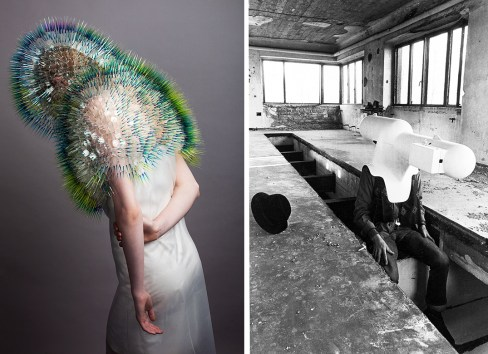 Left: Atmospheric Reentry by Maiko Takeda, 2013 Right: Portable Living Room by Walter Pichler, 1967