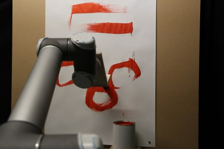 Figure 32. The UR10 robotic arm painting an abstract drawing