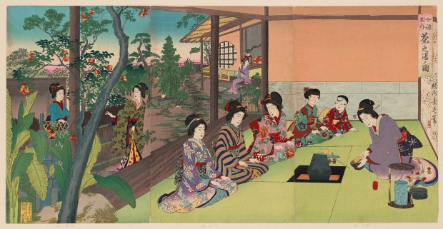 Fig. 5 Chikanobu (1888) Woodblock print depicting the tea ceremony, with the procession from the paved path of the garden to the minimalistic tea room