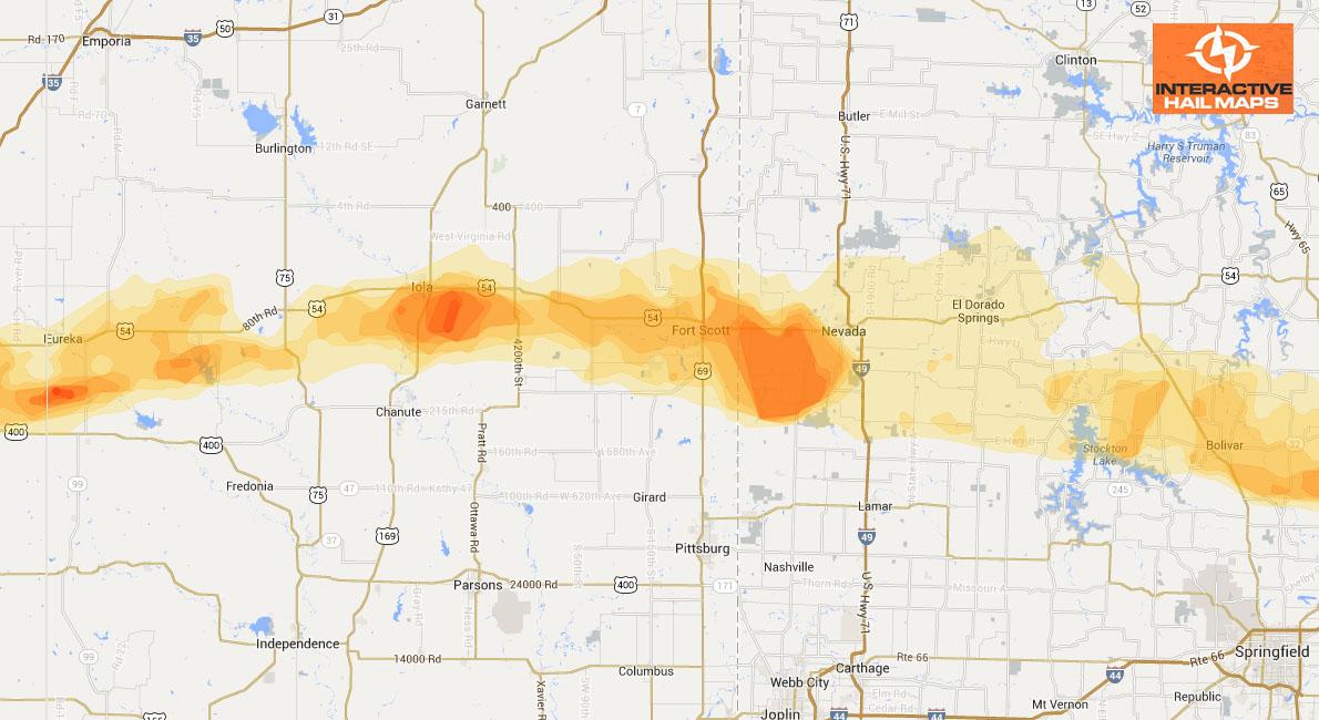Kansas Hail Map Storm