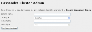 Detalle del formulario para crear un índice secundario