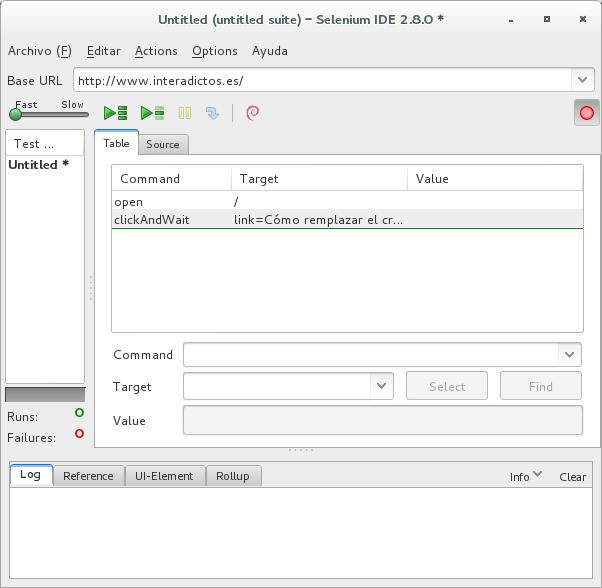 Selenium IDE con comandos