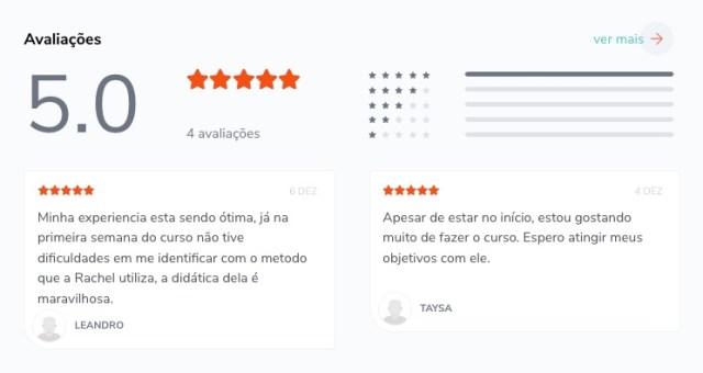 Nota de avaliação do curso make it british dada pelos compradores dentro da plataforma Hotmart