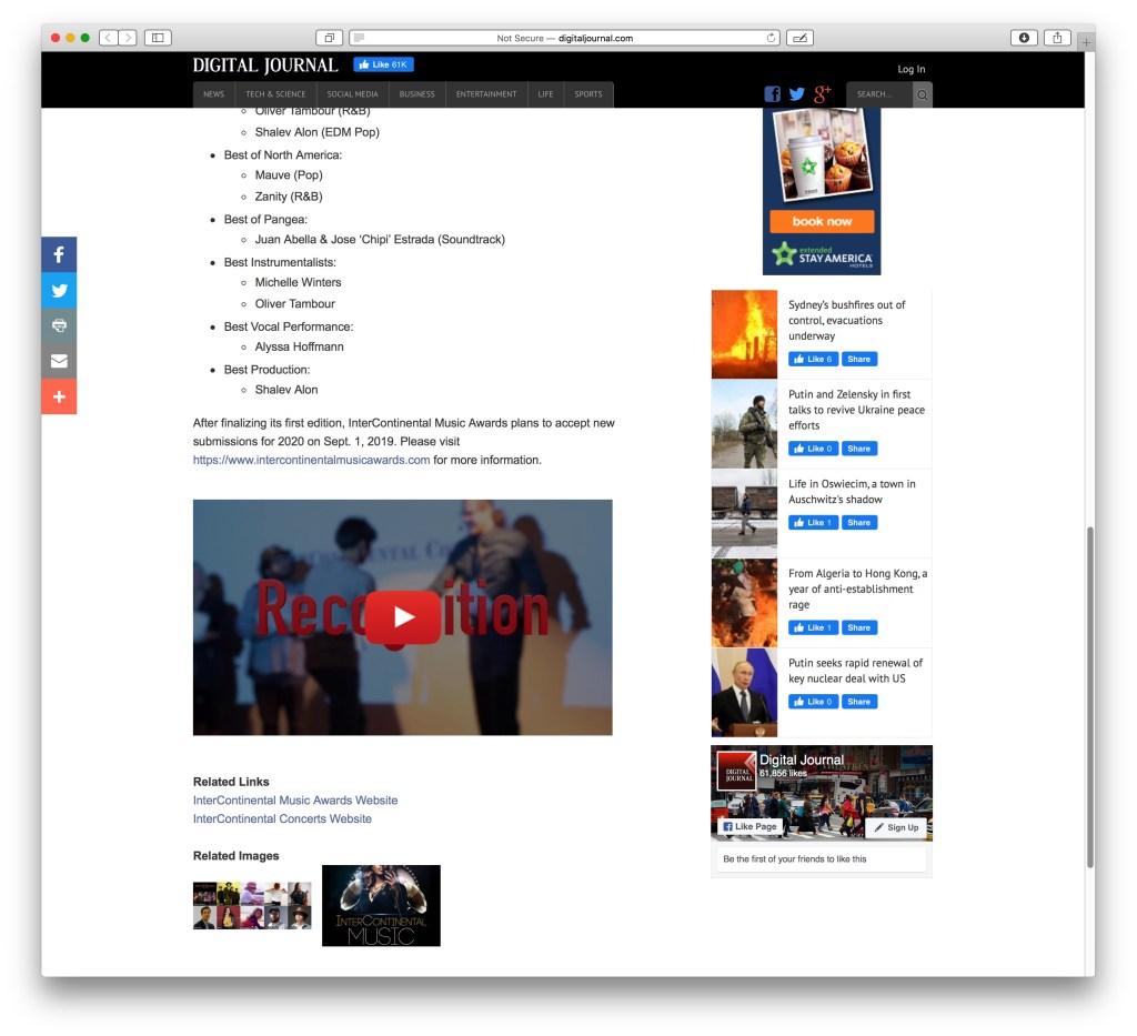 InterContinental Music Awards - announcement in digital journal