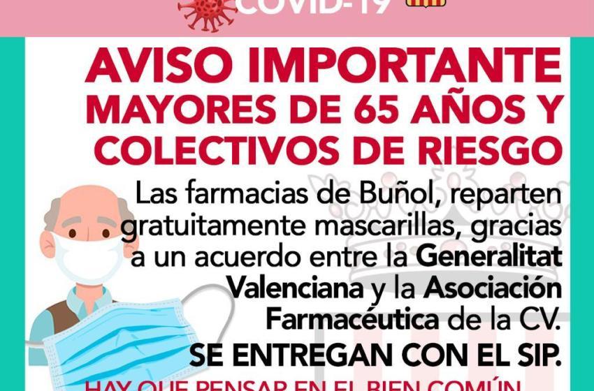 El Ayuntamiento de Buñol informa de la apertura del Registro Municipal, la permisividad de quemas agrícolas controladas y el reparto de mascarillas gratuitas para mayores de 65 años en las farmacias locales
