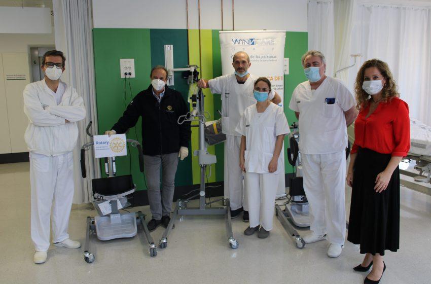 El Club Rotary Feria Mediterráneo dona al Hospital General de Valencia tres grúas elevadoras de pacientes para las salas y UCIS COVID