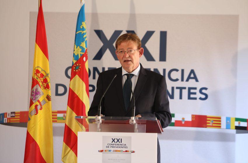 Ximo Puig pide que el Plan de Reconstrucción garantice la cohesión territorial y la convergencia en renta de todas las comunidades