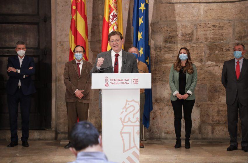 Ximo Puig anuncia que se han adherido al Plan Resistir los 523 ayuntamientos previstos y que la Generalitat completará mañana el pago de los 100 millones de euros en ayudas