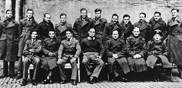 RAF-officers in Colditz. Bader sits in the center of the front row.