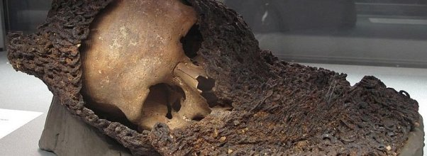 Medieval loot Battle of Visby skull with chainmail