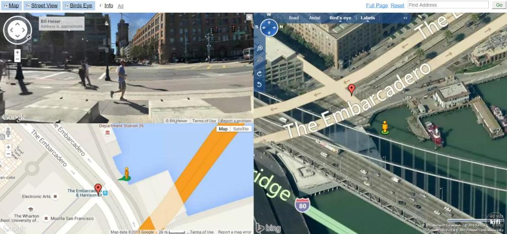 dual maps google maps street view and bing maps in an embeddable control