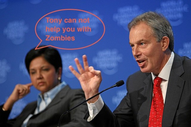 Tony Blair speaking at the International Zombie Convention - Image adapted from Flickr user World Economic Forum under creative conman's licence
