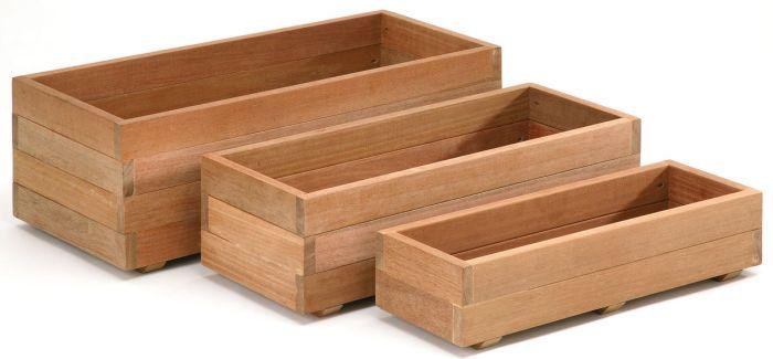 jardiniere bois dur rectangulaire 90x40x30cm