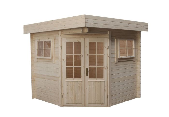 cabanne abri de jardin toit plat d angle modern 250x250cm 28mm