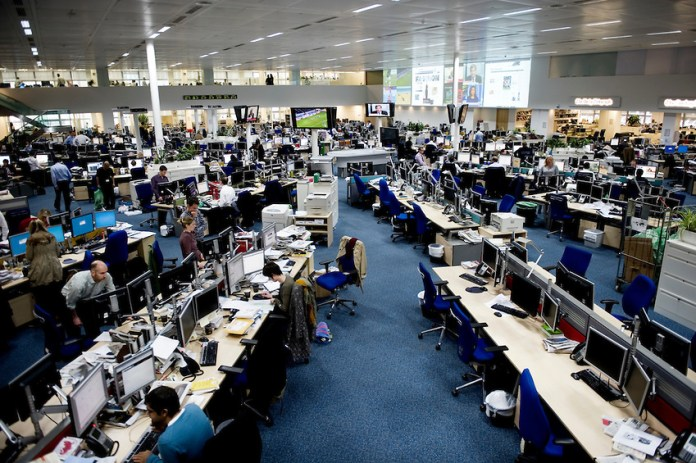 Telegraph Media Group's newsroom in London (Photo by Lucas Schifres)