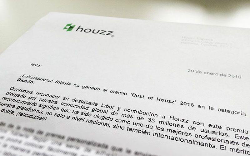 Premio Best of Houzz 2016 para Interia
