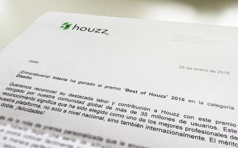 Premio Best of Houzz 2016 para Interia