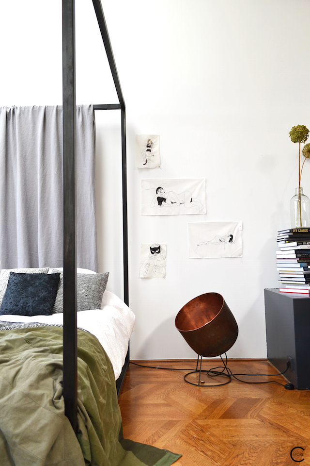 The Loft Amsterdam The Playing Circle August 2015  bedroom bed daybed styling copper lamp drawing black and white