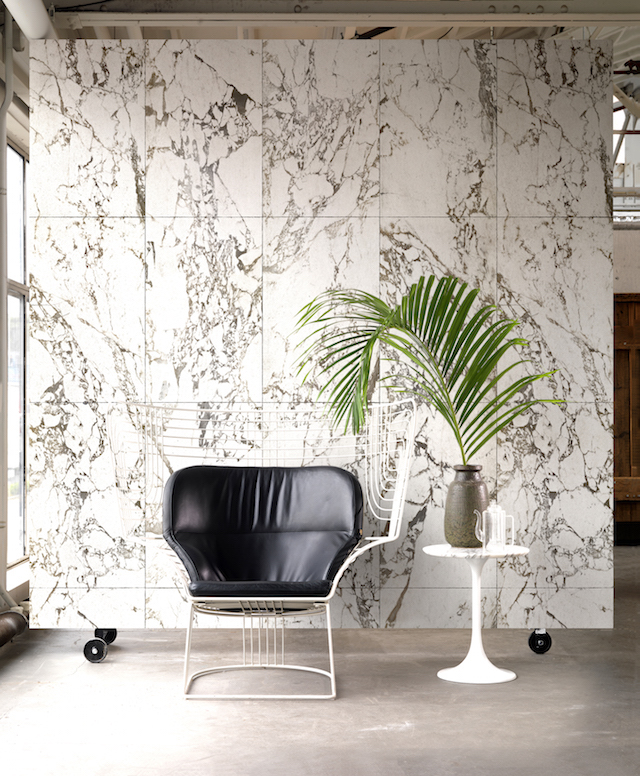 Marble , black brick and burnt wood wallpaper by Piet Hein Eek for NLXL