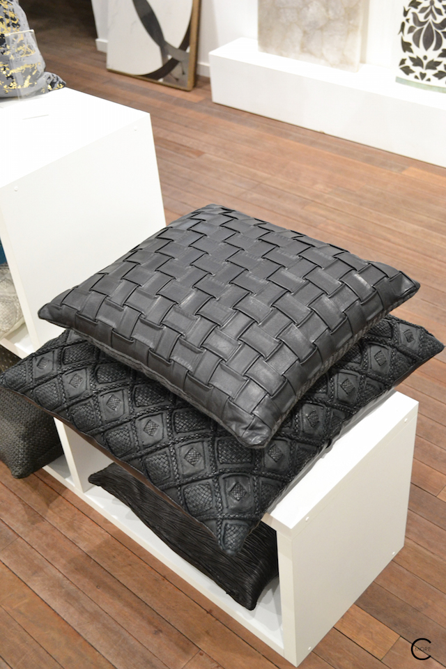 Black leather texture cushions | Material Heaven | Fameed Hkalique London | visited with Modenus #LondonBlogtour #Designhounds | Luxury interior trend